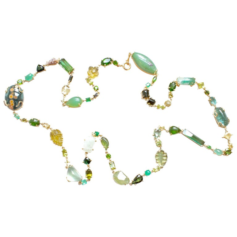 Multicolored Green Gemstone and Diamond Necklace