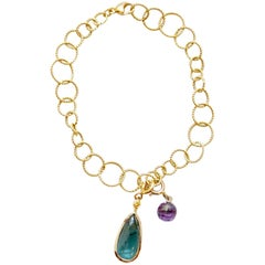 Amethyst, Blue Tourmaline and Yellow Diamond Jo Charm Bracelet