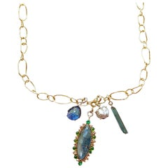 Multicolored Gemstone and Diamond Jo Charm Necklace