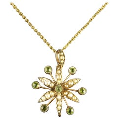 Antique Victorian Peridot Pearl Pendant Necklace, circa 1900