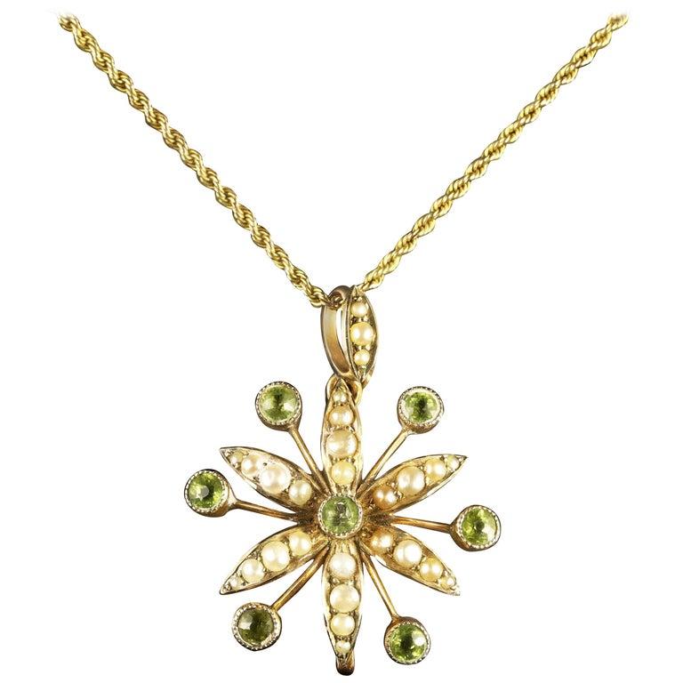 Antique Victorian Peridot Pearl Pendant Necklace, circa 1900