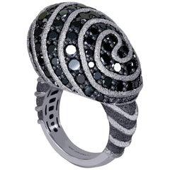 Alex Soldier Diamond Textured White Gold Swirl Art Ring One of a Kind Handmade