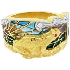 Masriera Plique à Jour Enamel and Diamond Ring