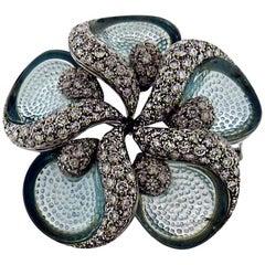 Rare Ambrosi Diamond and Aquamarine 18 Karat Gold Flower Brooch