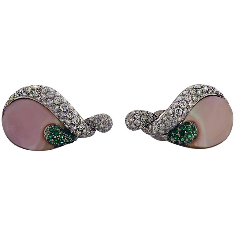 Ambrosi Diamond, Colombian Emerald and Mother-of-Pearl 18 Karat Gold Earrings