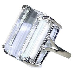 Sparkling Emerald Cut Silver Topaz in Sterling Silver Ring