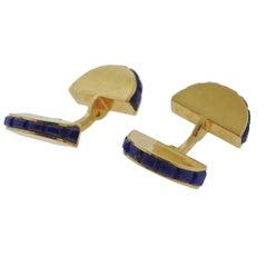 Cartier Paris France Lapis Lazuli Gold Cufflinks
