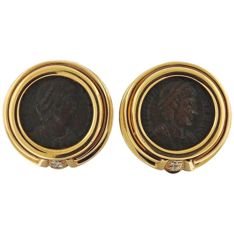 Bvlgari Bulgari Monete Diamond Ancient Coin Gold Earrings