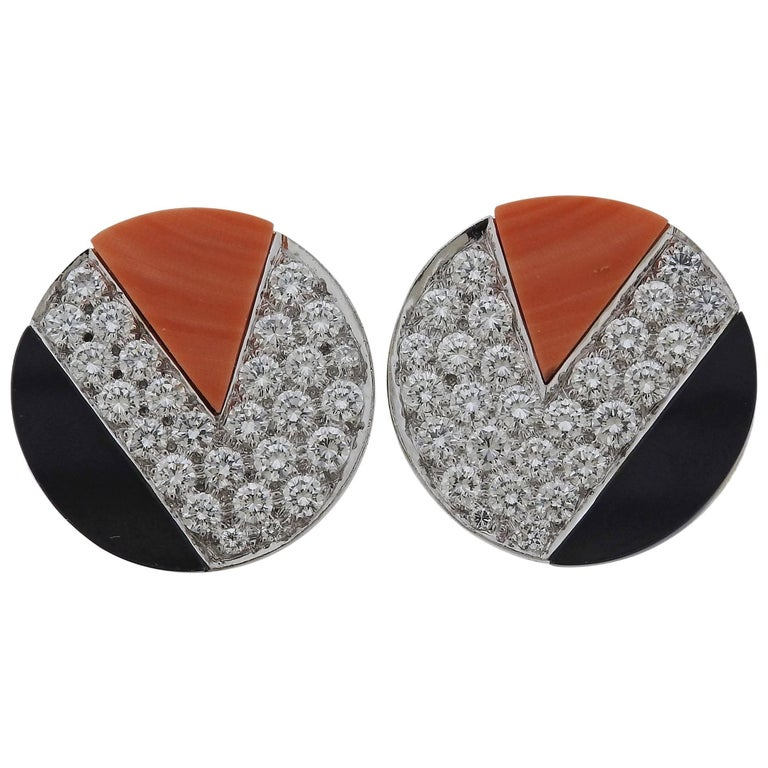 Kutchinsky Coral Diamond Onyx Platinum Gold Earrings