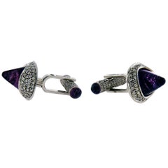 Unique Ambrosi Diamond and Rubelite Tourmaline 18 Karat White Gold Cufflinks
