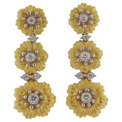 Buccellati Diamond Gold Flower Drop Earrings