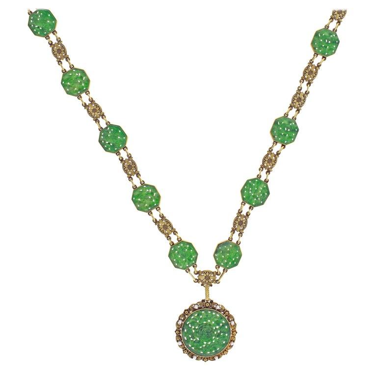 Tiffany & Co. Art Nouveau Jade Sautoir Necklace Bracelet