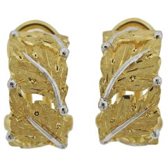Buccellati Leaf Motif Hoop Gold Earrings
