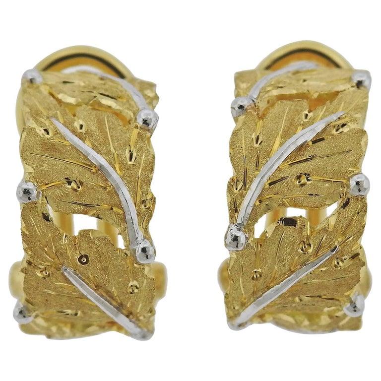 Buccellati Leaf Motif Hoop Gold Earrings