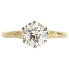 GIA Certified 1.11 Carat 18 Karat Yellow Gold and Platinum Diamond Ring