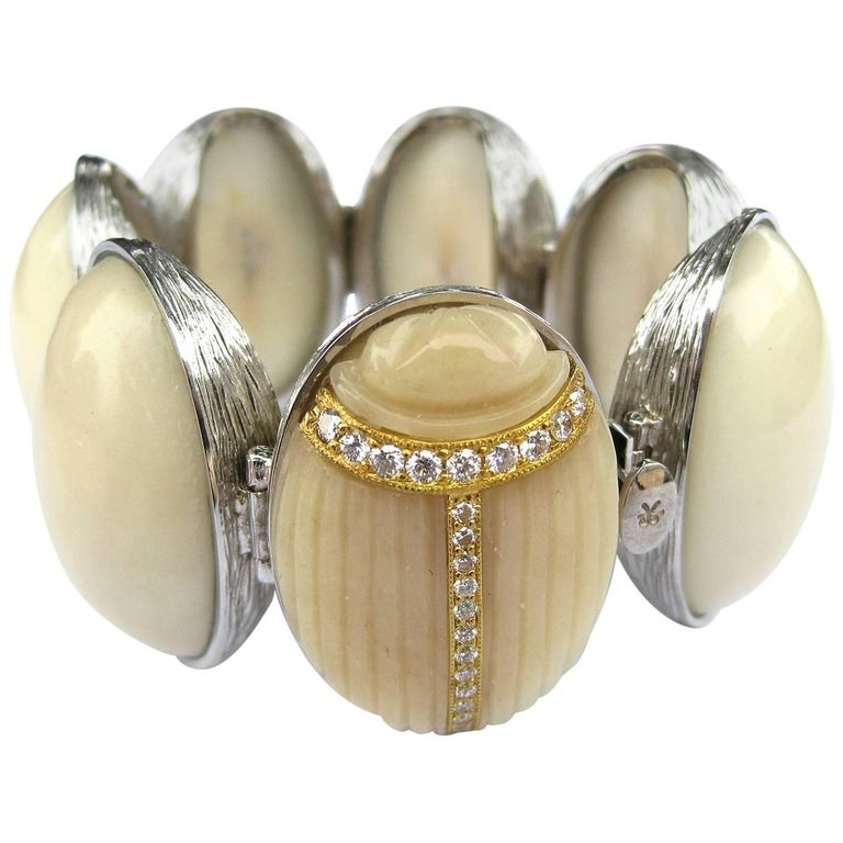 K. Brunini Jewels Taqua Nut Cabochon and Diamond Scarab Bracelet 1