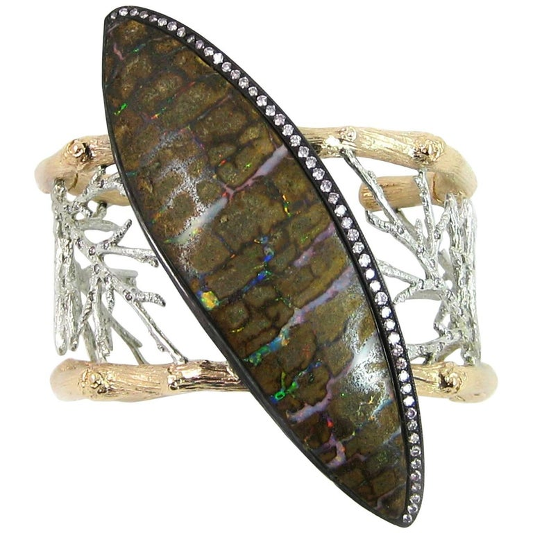 K. Brunini Jewels Zebra Opal and Natural Lavender Pink Diamond Cuff 1
