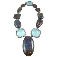 K. Brunini Koroit Opal, Aquamarine and Diamond Necklace