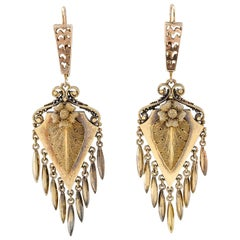 Victorian 1880s Gold Pendent Earrings
