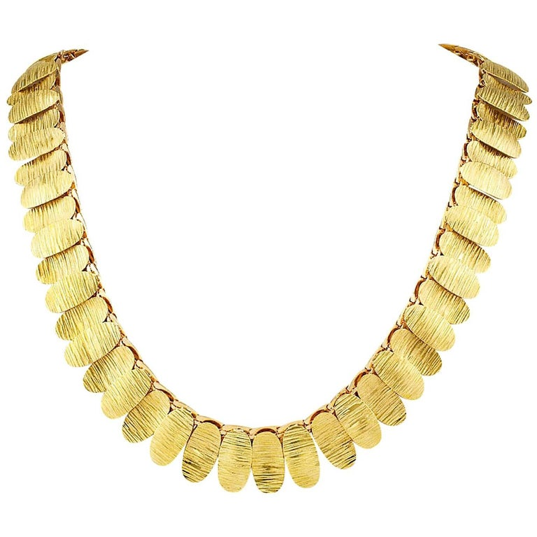 1960s Green and Pink Gold Link Necklace For Sale