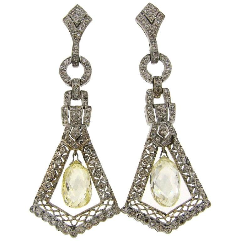 Diamond White Gold Dangle Earrings