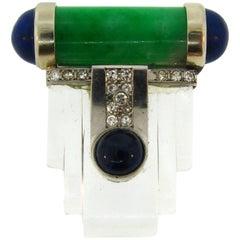 Jade Rock Crystal Platinum Clip Pin Brooch Lapis Lazuli Diamond Sapphire French