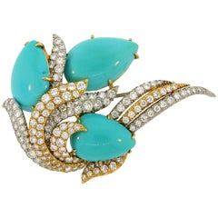 David Webb Turquoise Diamond Gold Platinum Brooch Pin Clip Pendant