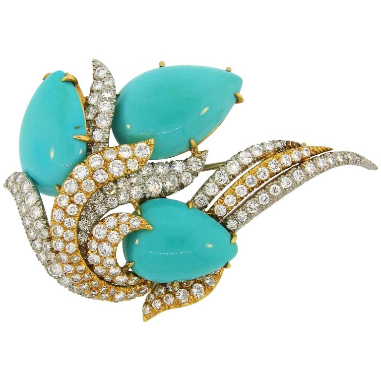David Webb Turquoise Diamond Gold Platinum Brooch Pin Clip Pendant For Sale