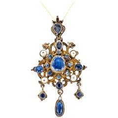 Victorian 1880s Sapphire Pearl Guilded Silver Pendant