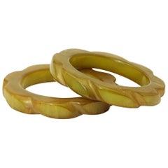 Art Deco Olive Green and Lemon / Butterscotch Hand-Carved Bakelite Bangles