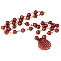 Vintage Carnelian and Gold Beads with Shell Shaped Carnelian Pendant