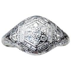 Art Deco Era 18 Carat White Gold Engagement Ring, Seven Diamond Cluster
