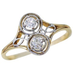 Art Deco, 14 Karat, Platinum and Diamond Engagement Ring in Dual Circular Design
