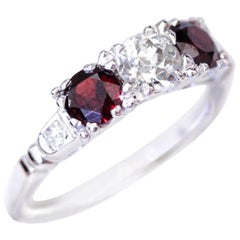 Garnet Old European Cut Diamond White Gold Engagement Ring
