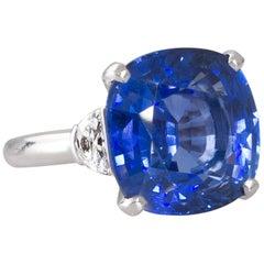 12.01 Carat GRS Certified Ceylon Sapphire Diamond Ring