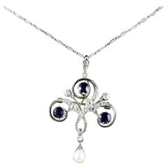 Antique Edwardian Platinum Amethyst Diamond Pendant Necklace