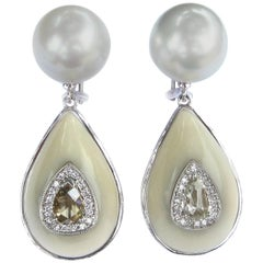 K. Brunini South Sea Pearl, Tagua Nut and Diamond Earrings
