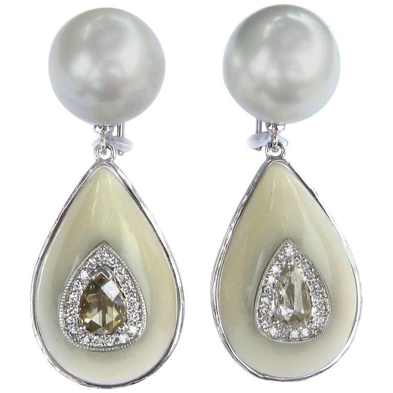 K. Brunini Jewels South Sea Pearl, Tagua Nut and Diamond Earrings 1
