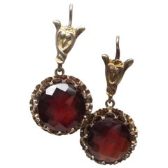 Edwardian Gold Garnet Drop Earrings