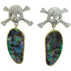 K. Brunini Australian Opal and Diamond Pirate Earrings