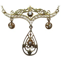 Art Nouveau Gold Diamond Pearl Festoon Necklace