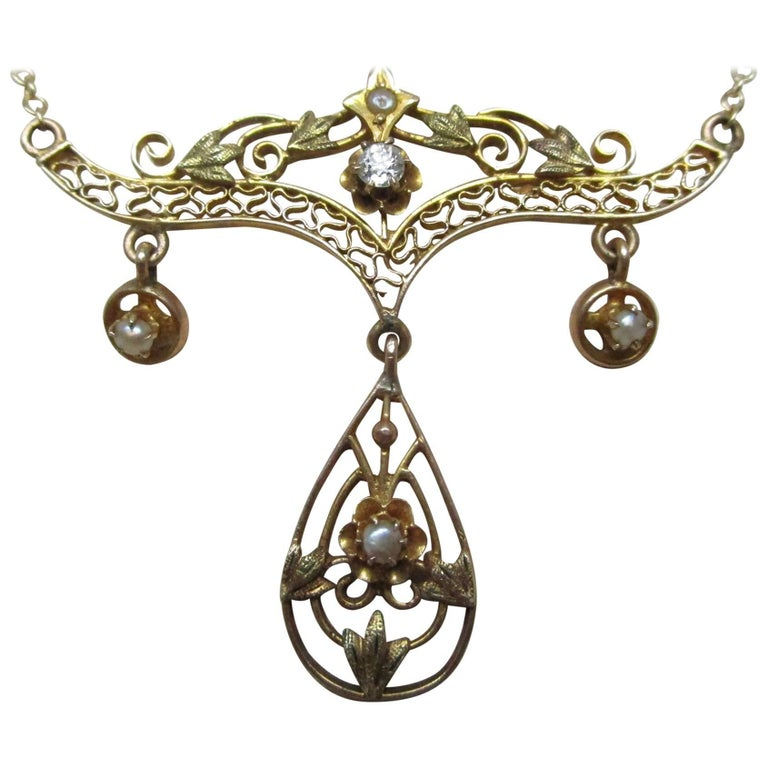 e158597c1a991 Art Nouveau Gold Diamond Pearl Festoon Necklace For Sale at 1stdibs