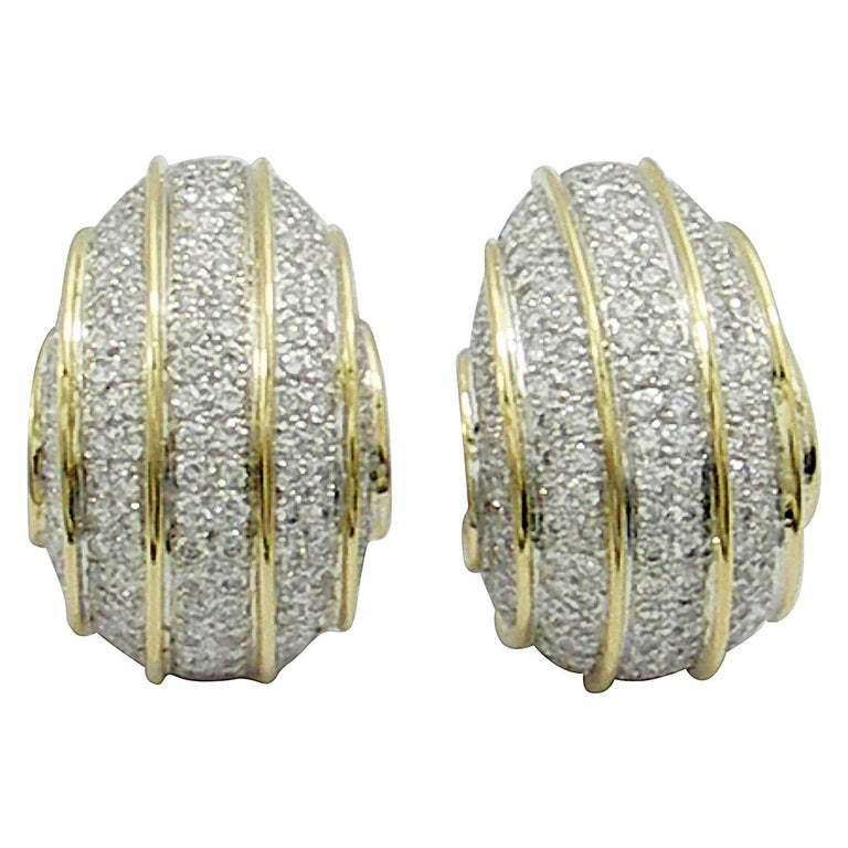 Bombe Gold and Diamond Earrings For Sale