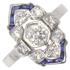 Art Deco Diamond Sapphire Platinum Cocktail Ring