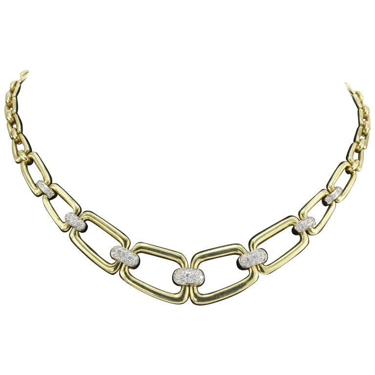 Yellow Gold Graduated Chain Link Diamond Necklace