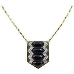 David Webb Black Enamel and Diamond Necklace