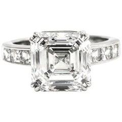 GIA Report 4.05 Carat G Color VS1  Asscher Cut Diamond Platinum Ring