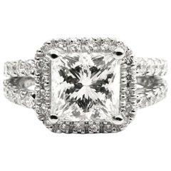 GIA Certified 2.04 Carat Princess Cut Diamond Pave Split Shank Ring
