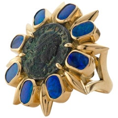 1884 Collection Ancient Roman Coin Opal Yellow Gold Cocktail Ring