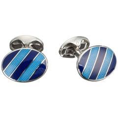 Deakin & Francis Striped Blue Enamel Cufflinks in Sterling Silver
